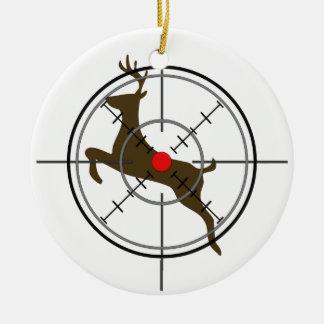 Ornamento del navidad de la caza de los ciervos adorno navideño redondo de cerámica