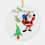 Ornamento del navidad de la diversión de Papá Noel Ornamentos De Reyes