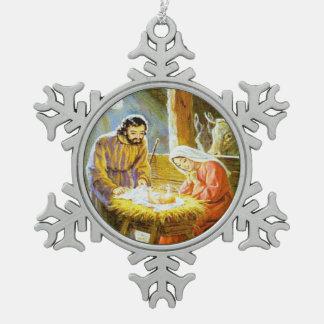 Ornamento del navidad de la escena de la natividad adorno de peltre en forma de copo de nieve