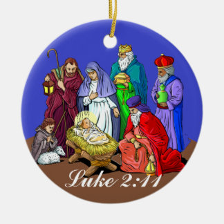 Ornamento del navidad de la escena de la natividad adorno navideño redondo de cerámica