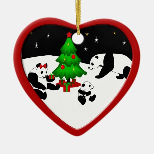 Ornamento del navidad de la familia de la panda adorno navideño de cerámica en forma de corazón