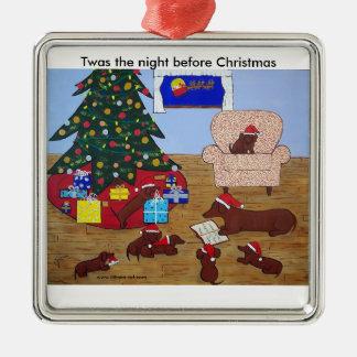 Ornamento del navidad de la familia del Dachshund Adorno De Navidad