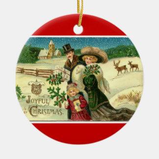 Ornamento del navidad de la familia del Victorian Adorno Redondo De Cerámica