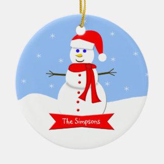 Ornamento del navidad de la familia - su apellido adorno redondo de cerámica