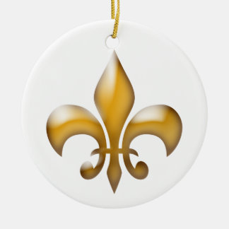 Ornamento del navidad de la flor de lis del oro adorno navideño redondo de cerámica