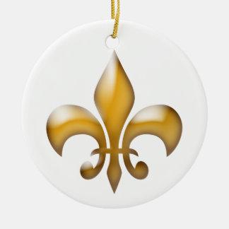 Ornamento del navidad de la flor de lis del oro adorno redondo de cerámica