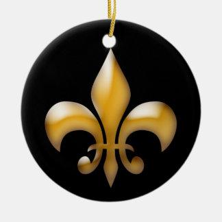 Ornamento del navidad de la flor de lis en negro y adorno navideño redondo de cerámica