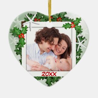 Ornamento del navidad de la foto de familia del adorno navideño de cerámica en forma de corazón