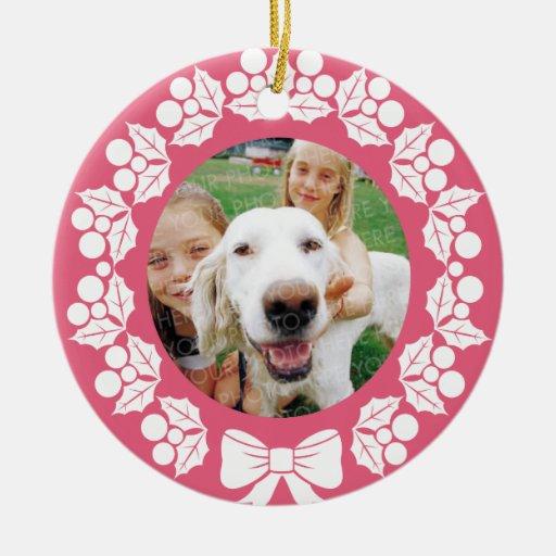 Ornamento del navidad de la foto de los saludos de adornos