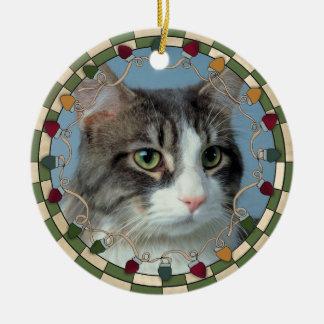 Ornamento del navidad de la foto del gato del ornato