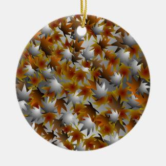 Ornamento del navidad de la hoja adorno navideño redondo de cerámica