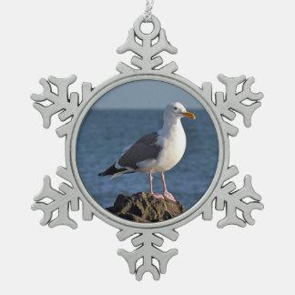 Ornamento del navidad de la impresión de la gaviot adorno de peltre en forma de copo de nieve