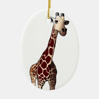 Ornamento del navidad de la jirafa adorno ovalado de cerámica