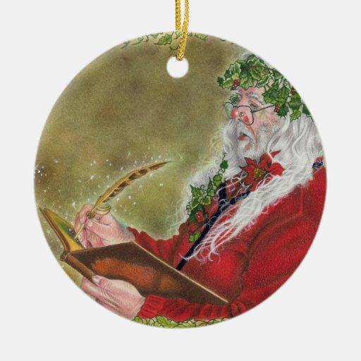 Ornamento del navidad de la lista de Santa Adorno Redondo De Cerámica