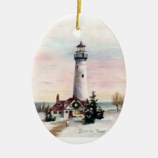 Ornamento del navidad de la luz de navidad adorno navideño ovalado de cerámica