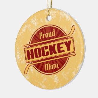 Ornamento del navidad de la mamá del hockey, adorno navideño redondo de cerámica