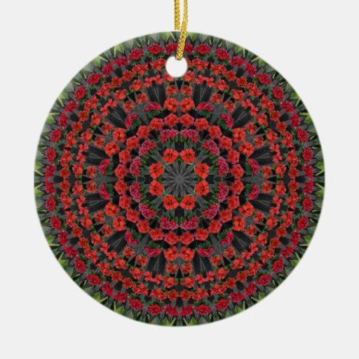 Ornamento del navidad de la mandala del Poinsettia Adorno Navideño Redondo De Cerámica
