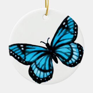 Ornamento del navidad de la mariposa de la adorno navideño redondo de cerámica