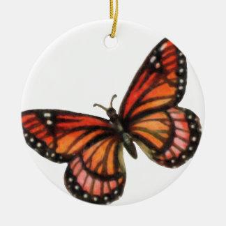 Ornamento del navidad de la mariposa de monarca adorno navideño redondo de cerámica