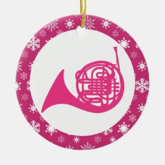 Ornamento del navidad de la música del copo de adorno navideño redondo de cerámica
