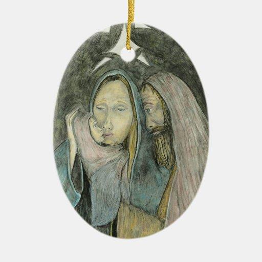 Ornamento del navidad de la natividad adorno navideño ovalado de cerámica