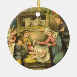 Ornamento del navidad de la natividad del vintage adornos
