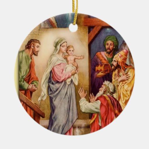 ornamento del navidad de la natividad del vintage adorno redondo de cerámica