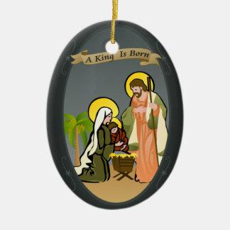 Ornamento del navidad de la natividad el   (azul) ornato