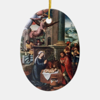Ornamento del navidad de la pintura del vintage de adorno ovalado de cerámica