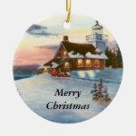 Ornamento del navidad de la puesta del sol de la adorno navideño redondo de cerámica