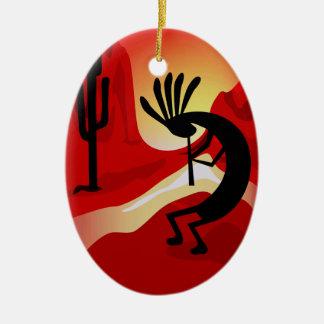 Ornamento del navidad de la puesta del sol del adorno navideño ovalado de cerámica