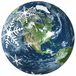Ornamento del navidad de la tierra del planeta esculturas fotográficas