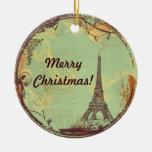 Ornamento del navidad de la torre Eiffel en verde Ornamentos De Reyes Magos