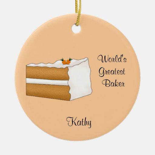 Ornamento del navidad de la torta de zanahoria adorno navideño redondo de cerámica