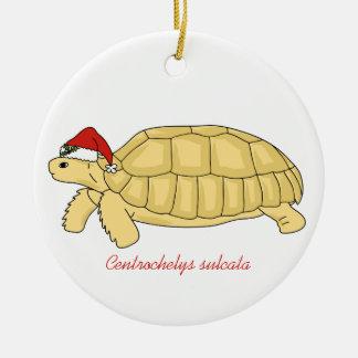 Ornamento del navidad de la tortuga de Sulcata Adorno Navideño Redondo De Cerámica