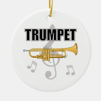 Ornamento del navidad de la trompeta adorno navideño redondo de cerámica