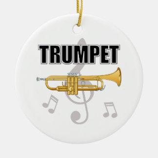 Ornamento del navidad de la trompeta adorno redondo de cerámica