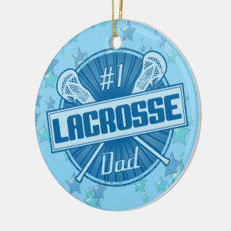 Ornamento del navidad de LaCrosse, papá flojo #1 Adorno Navideño Redondo De Cerámica