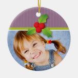 Ornamento del navidad de las bayas del acebo (lila ornamento de reyes magos