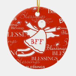 Ornamento del navidad de las bendiciones del ángel adorno navideño redondo de cerámica
