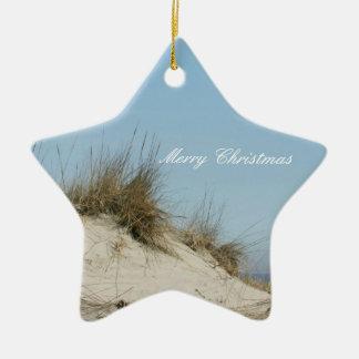 Ornamento del navidad de las dunas de la playa adorno navideño de cerámica en forma de estrella