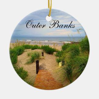 Ornamento del navidad de las dunas de Outer Banks Adorno Navideño Redondo De Cerámica