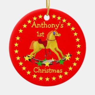 Ornamento del navidad de las estrellas del caballo adorno navideño redondo de cerámica