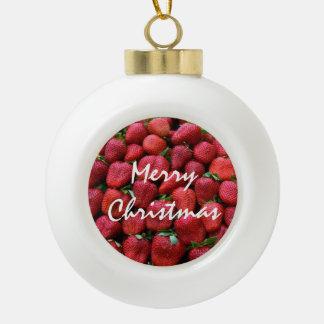 Ornamento del navidad de las fresas adorno de cerámica en forma de bola