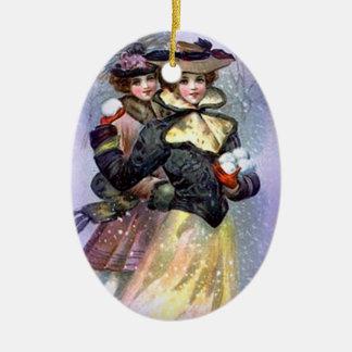 Ornamento del navidad de las hermanas del vintage adorno ovalado de cerámica