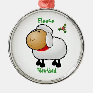 Ornamento del navidad de las ovejas adorno redondo plateado