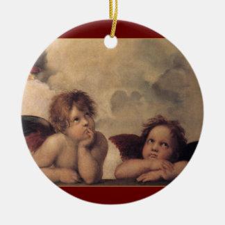 Ornamento del navidad de las querubes de Raphael Adornos De Navidad