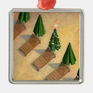 Ornamento del navidad de las sillas de playa adorno navideño cuadrado de metal
