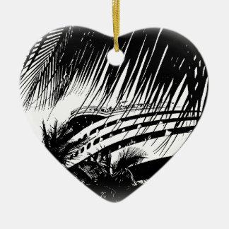 Ornamento del navidad de las vacaciones del barco adorno de cerámica en forma de corazón