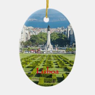 Ornamento del navidad de Lisboa* Marqûes Pombal Adorno Navideño Ovalado De Cerámica